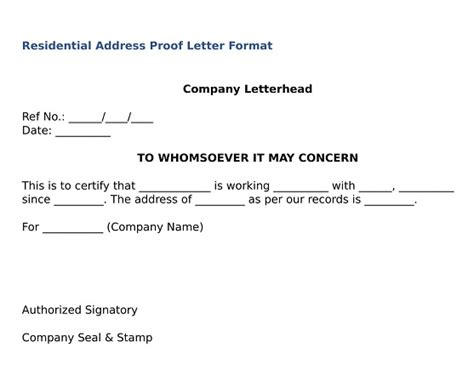 address proof letter  company  proposal letter