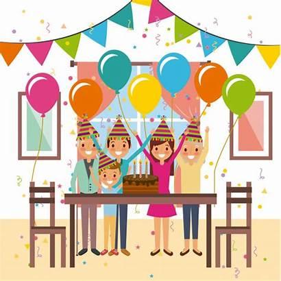 Birthday Party Celebration Happy Decoration Vector Cake
