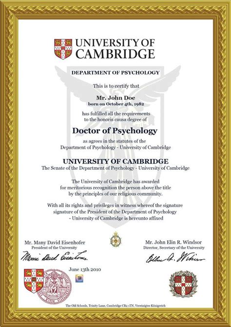 doctorate diploma cambridge doctor honorary title