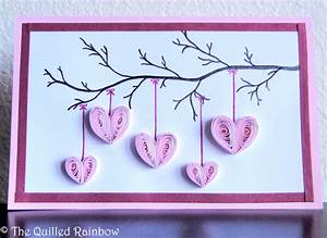 Quilled Hanging Hearts Handmade Mothers Day Card Hearts
