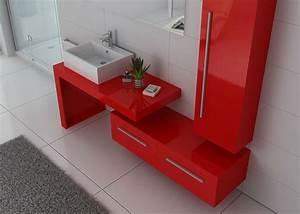 Meuble Simple Vasque : meuble de salle de bain rouge coquelicot meuble simple vasque design dis9250 distribain ~ Teatrodelosmanantiales.com Idées de Décoration