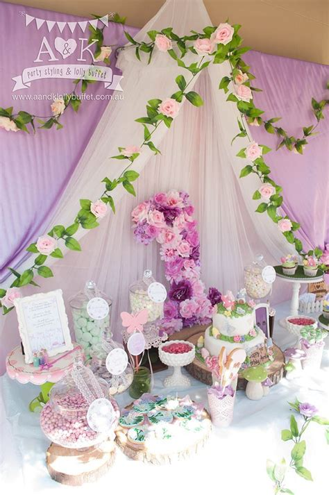 cute   girly purple woodland baby shower dessert table