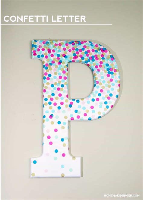 diy confetti letter  home decor mod podge rocks