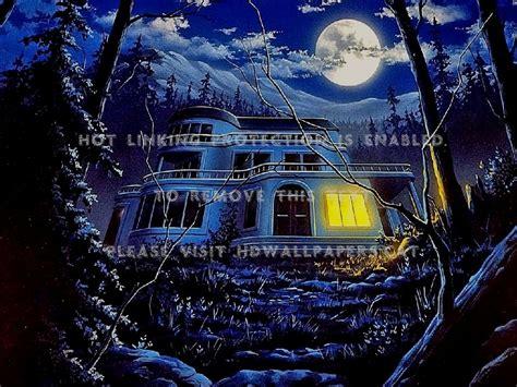 Haunted House Moon Night Halloween Sky