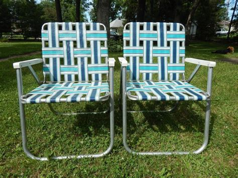 Lawn Chair Set by 2 Vintage Aluminum Sunbeam Folding Webbed Lawn Chair Set
