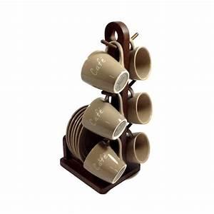 Tasse à Café Avec Support : service caf 6 tasses en c ramique avec support en bois comparer avec ~ Teatrodelosmanantiales.com Idées de Décoration