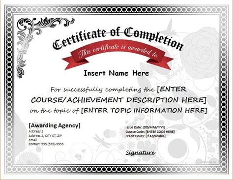 certificate  completion  ms word   http