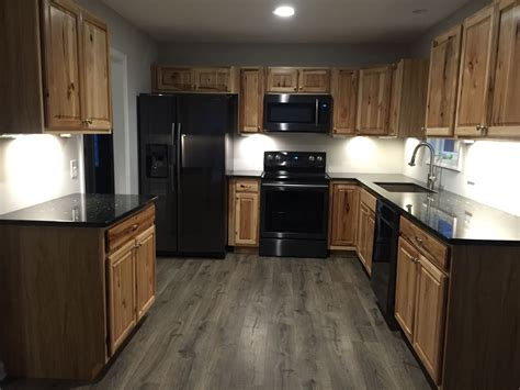 Kitchen Cabinet Paint Colors Black Appliances by Hickory Cabinets Black Stainless Appliances Kitchen