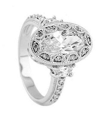 Silver Antique Milgrain Oval Setting CZ Engagement Ring | eBay