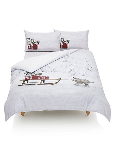 Husky Pups Print Bedding Set M&s
