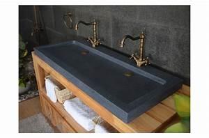 double vasques en pierre yate a poser 120x50 granit haut With salle de bain design avec double vasque pierre naturelle