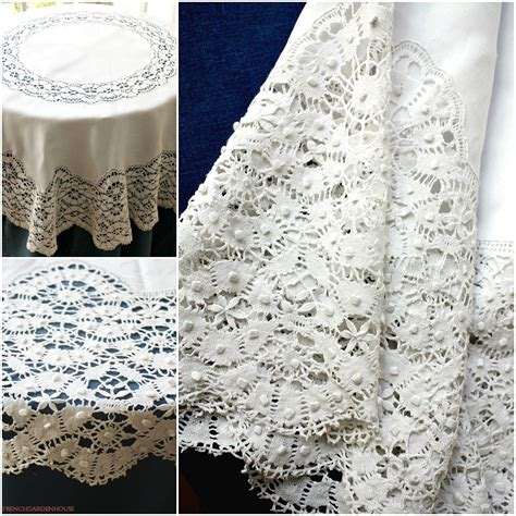Antique French Linen Cluny Lace Square Tablecloth
