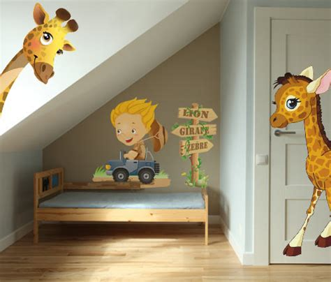 chambre de bébé jungle stickers bb girafe garon vente stickers animaux de la