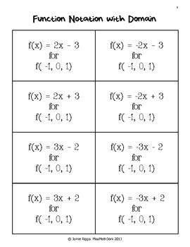 Math Worksheets Function Notation  Algebra Review For The