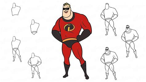 How To Draw Mr. Incredible From The Cartoon