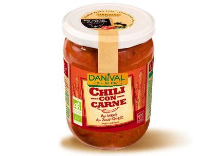 plats cuisin駸 bio tex mex chili con carne 525g danival