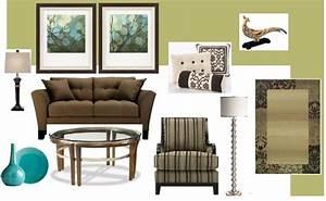 Joy of decor living room green walls brown sofa
