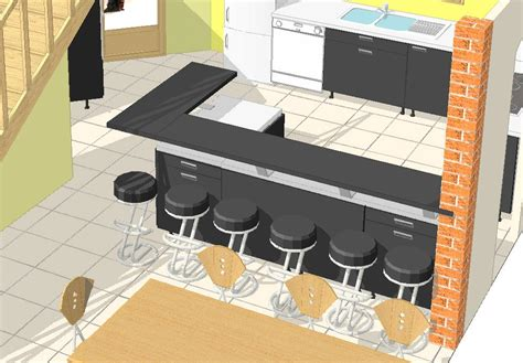 plan bar cuisine davaus modele cuisine avec bar avec des idées