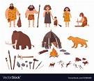 Set of stone age theme primitive people children Vector Image