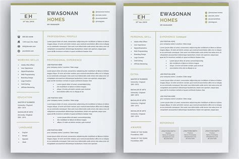 Can Resumes Be 2 Pages by Minimal Resume 3 Pages Cv Template For Word Two Page