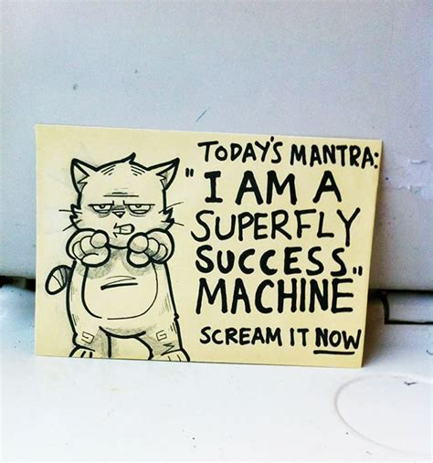 artist leaves motivational sticky notes   train