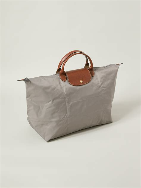 longchamp le pliage travel bag  grey gray lyst