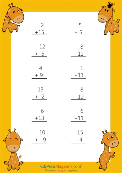 easy sums add to 20 worksheet 6 addition worksheets