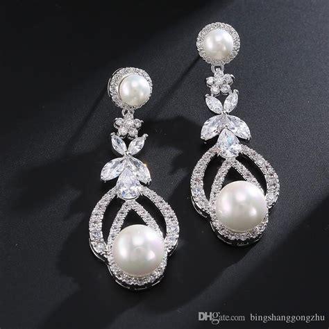 vintage pearl wedding earrings white pearl bridesmaid