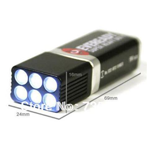 9 volt led flashlight torch 6 white light bulbs 9v battery