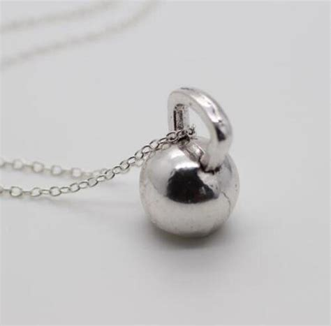 kettlebell weightlifting pendant silver barbell dumbbell mixed fitness jewelry 25lbs charms weight necklace