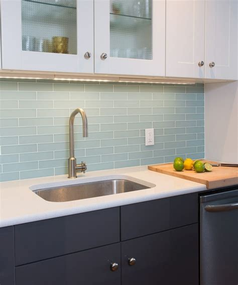 blue glass backsplash kitchen frosted glass tile kitchen modern with bamboo floor 4808