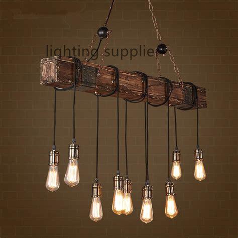 antique hanging lights loft style creative wooden droplight edison vintage