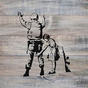 Girl With Soldier Banksy Stencil Stencil Revolution