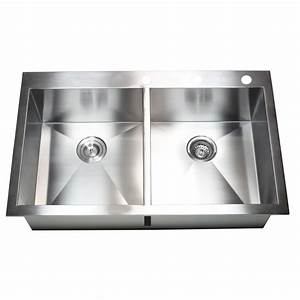 36 Inch Top Mount Drop In Stainless Steel Double Bowl