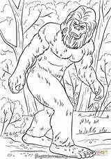 Bigfoot Coloring Pages Printable Sasquatch Yeti Monster Tremendous Lengend Print Drawing Camping Supercoloring Silhouette Clipart Hunter Birthday Lovesmag Crafts Pattern sketch template