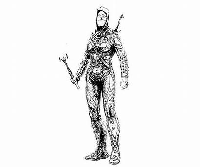 Skyrim Elder Armor Scrolls Coloring Pages Female