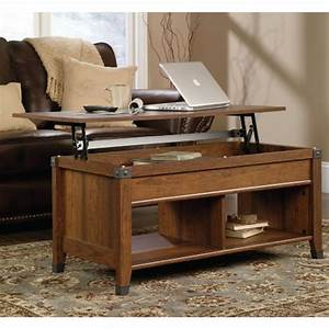 sauder carson forge washington cherry built in storage With carson forge lift top coffee table