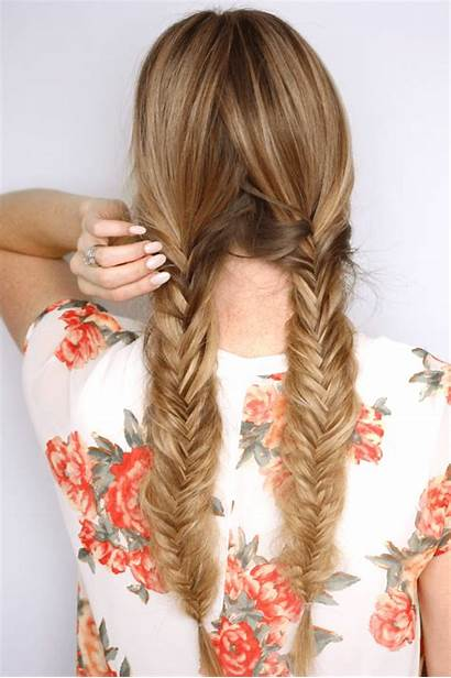 Fishtail Braids Pigtail Tutorial Step Middle Face