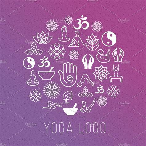 yoga symbols   label shape illustrations