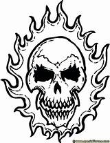 Skull Coloring Pages Skulls Flames Flaming Fire Ghost Rider Colouring Tattoo Drawing Drawings Printable Cool Skeletons Sheets Result Getdrawings Google sketch template