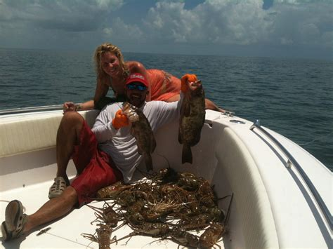lobster  red grouper    perfect day   water