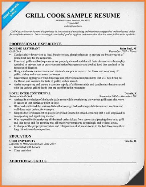 exle resume waitress free server resume exle
