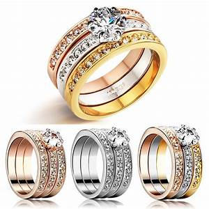 3 piece 18k white gold engagement wedding diamond ring set With 3 piece womens wedding rings