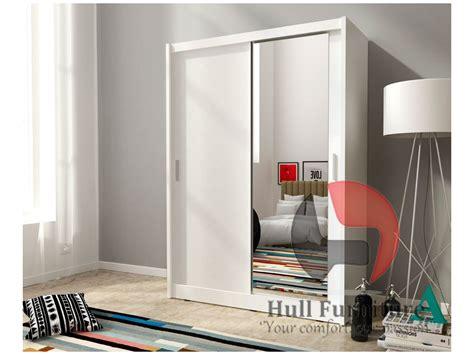 White Wardrobe With Mirror by Maja 150cm White Sliding Door Wardrobe With Mirror