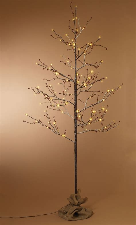 6ft white led tree snow covered birch with berries led 6ft artificial trees