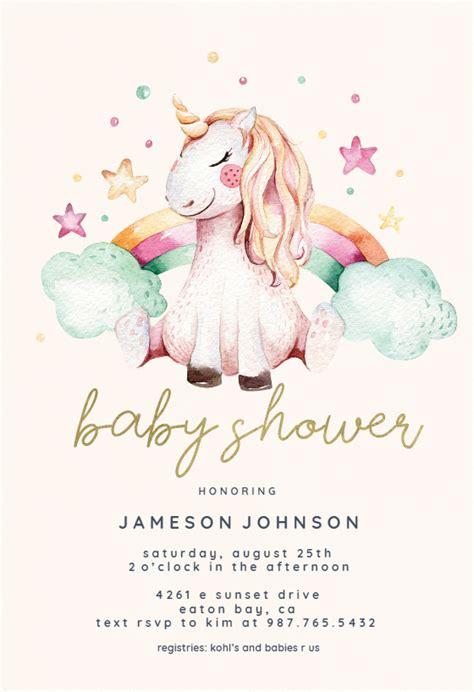 unicorn  rainbow baby shower invitation template
