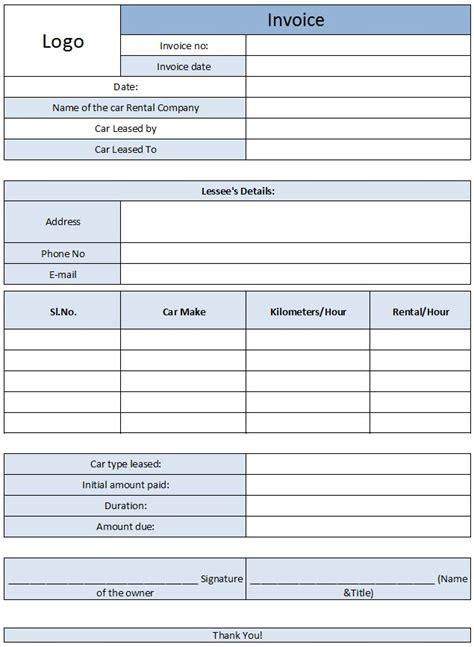 car rental invoice template  enterprise car rental