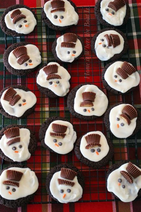 melted snowman cookies with reeses melted snowman cookies any cookie using white chocolate bark candy coating reese s peanut