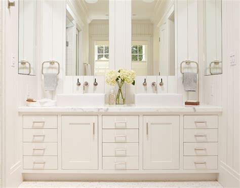Master Bathroom, White Vanity With Two Sinks And Large