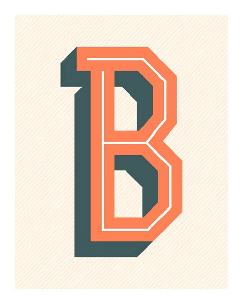the letter b original art print typography alphabet